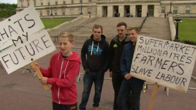 Farmers and their families protests at Stormont last week over the falling price they are receiving for milk (Photo: BBC)