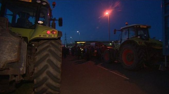 The Morrisons blockade continued into the early hours of Friday. (Photo: BBC)